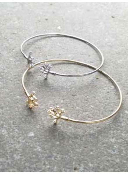 Gold Rhinestone tree open bangle