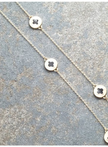 Long Black and tan clover necklace