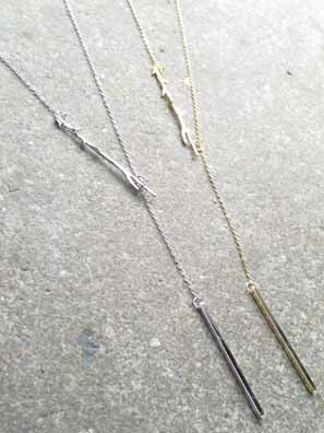Gold Tree branch lariat