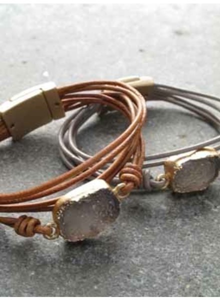Leather Leather and stone wrap bracelet