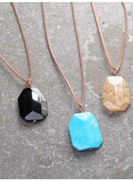 Stone Adjustable long rope stone necklace