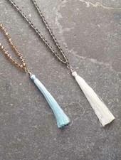 Long Long beaded tassel necklace