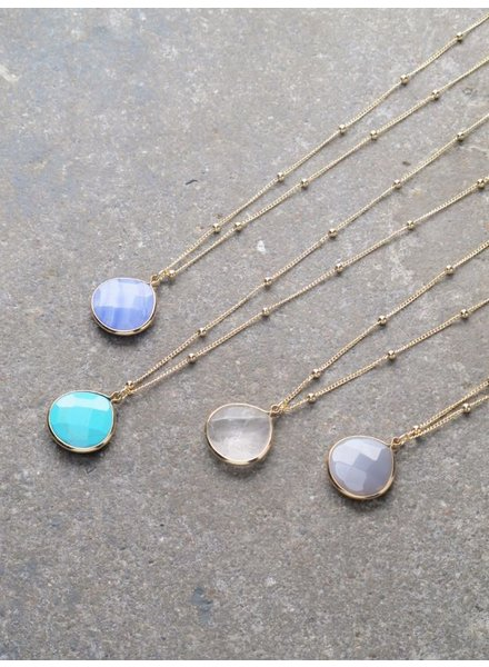 Stone Long stone pendant necklace *4 COLORS