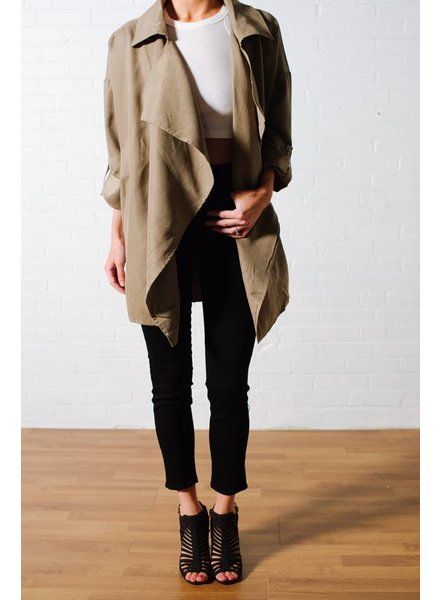 Olive drapey trench *BACK IN STOCK!