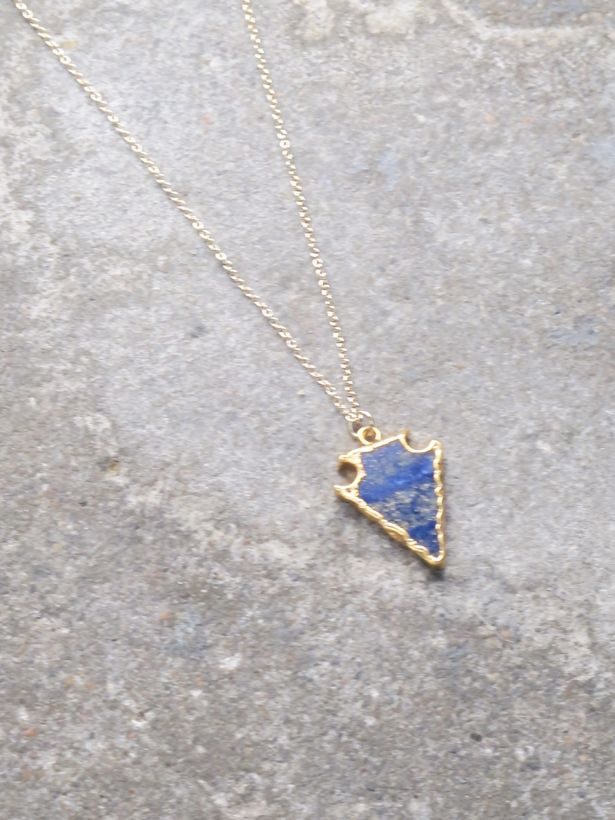 Stone Blue golden arrow necklace