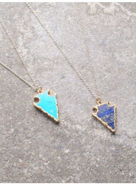 Stone Blue golden arrow necklace