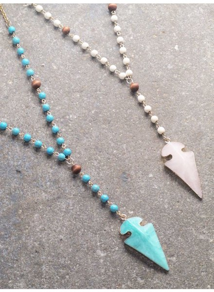 Stone Beaded stone arrow necklace *2 COLORS