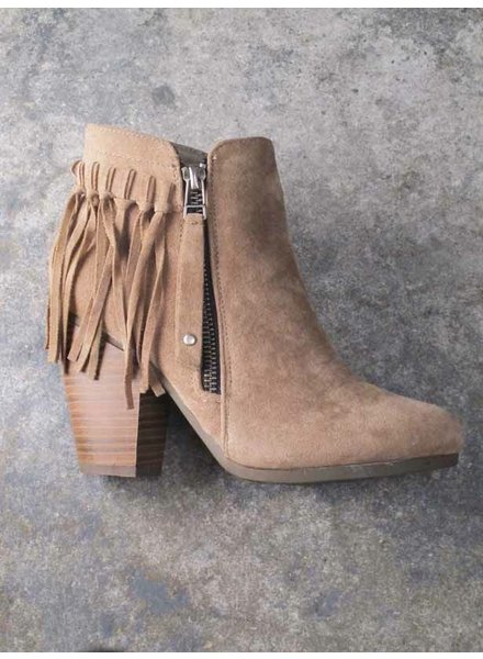 Bootie Taupe fringe back bootie