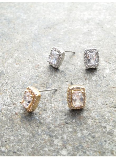 Stud Rectangle rhinestone stud *2 COLORS