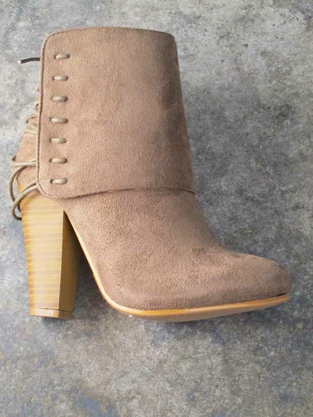 Bootie Taupe back lace bootie
