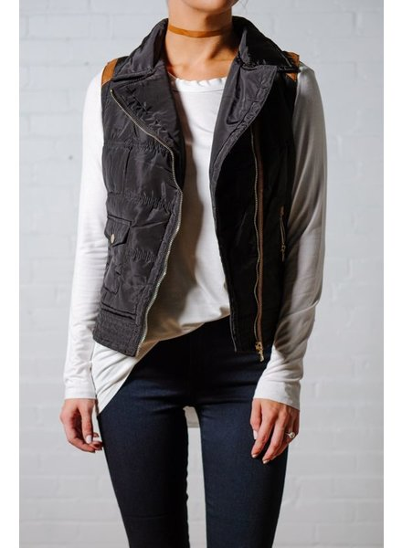 Vest Black puffy vest with leather accent *Back in stock!