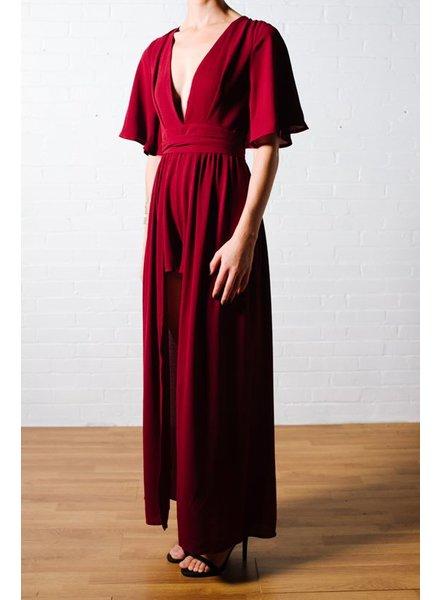 Dressy Flutter sleeve drape back burgundy romper