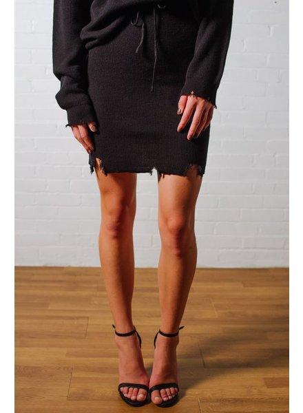 Skirt Frayed hem knit skirt