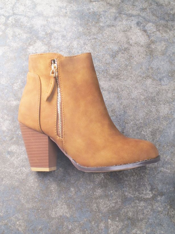 Bootie Camel weathered leather bootie