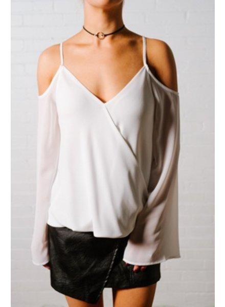 Blouse Ivory cross front cold shoulder blouse