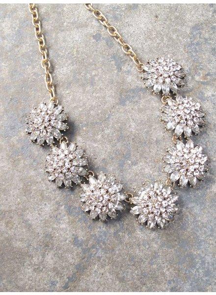 Dressy Rhinestone burst statement necklace