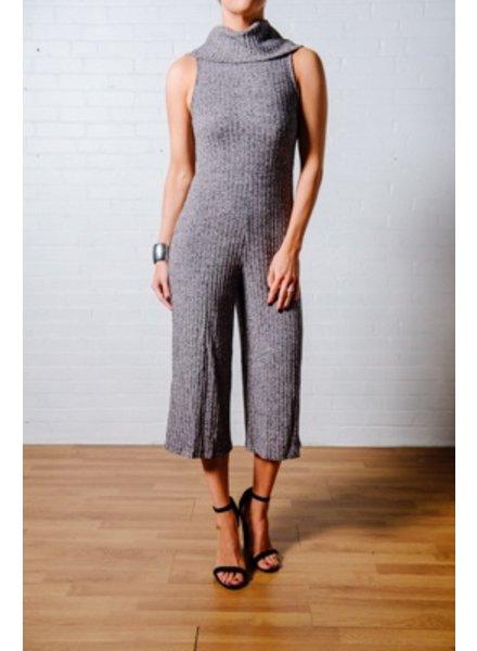 Jumpsuit Rib knit cowl jumpsuit