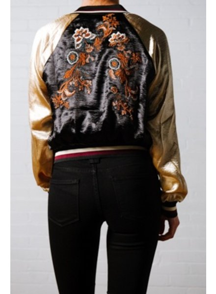 Lightweight Silky embroidered bomber