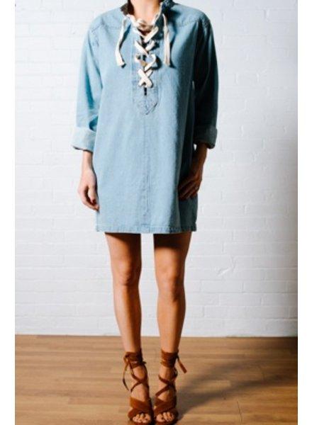 Tunic Lace front denim mini