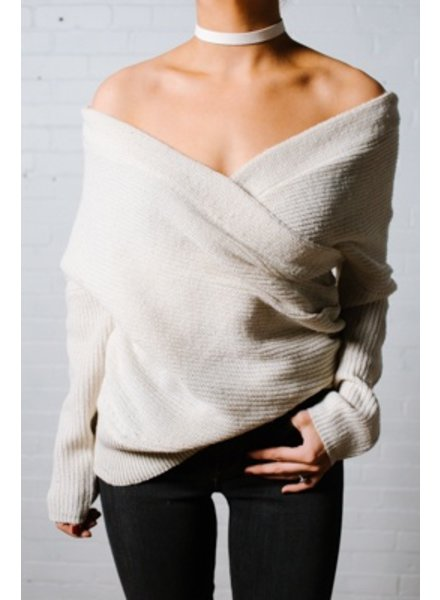 Sweater Cream heavy knit wrap sweater