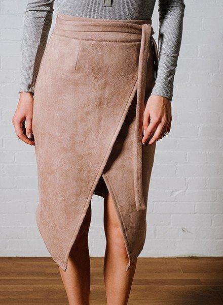 Skirt Blush suede midi skirt