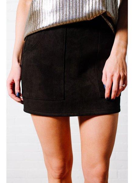 Skirt Black vegan suede mini skirt