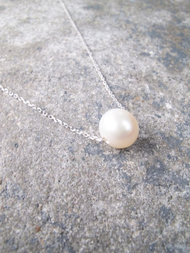Sterling Sterling silver single pearl necklace