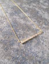 Sterling Gold plated rhinestone bar necklace