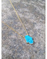 Sterling Gold plated blue hamsa necklace
