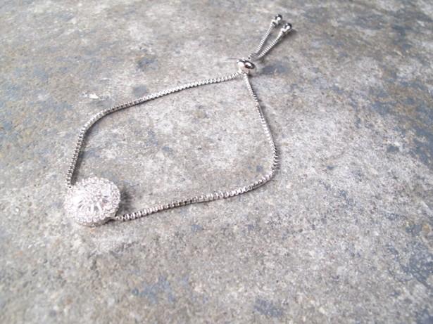 Silver Dainty silver rhinestone detail bracelet