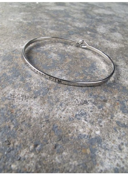 Silver Carpe diem bangle