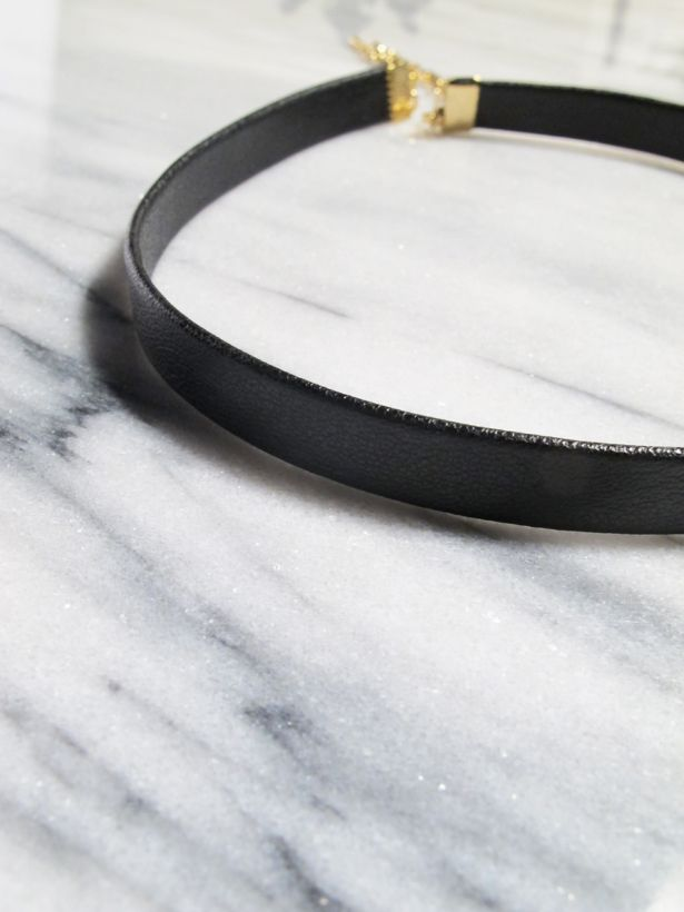 Choker Basic black leather choker