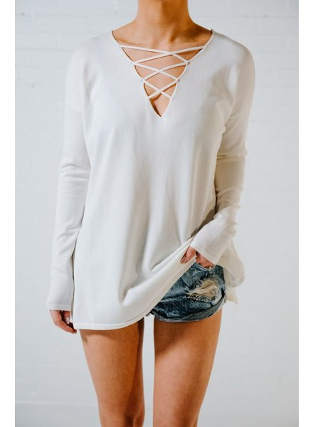 Sweater Ivory lace front knit sweater