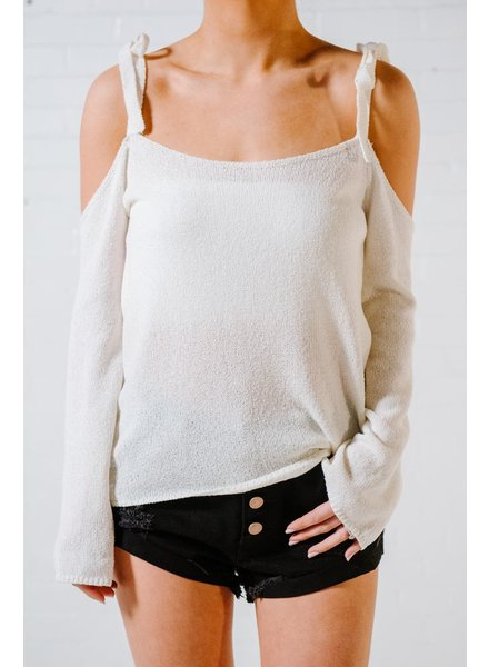 Sweater White bow tie shoulder sweater *BACK IN STOCK!