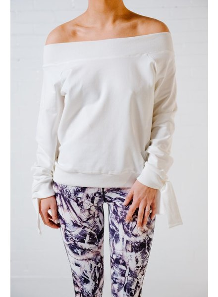 Sweatshirt White OTS tie sleeve sweatshirt