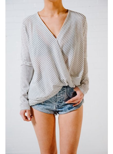 Blouse Cross front striped blouse