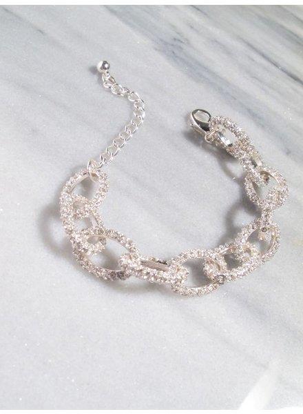 Dressy Silver rhinestone link bracelet
