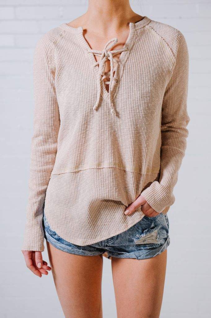 Knit Peach lace up rib knit