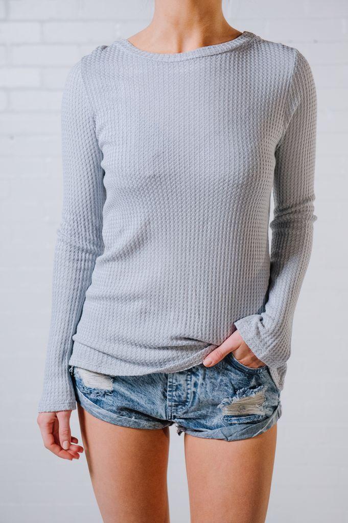 T-shirt Lace back waffle knit