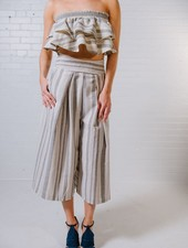 Crop Natural stripe culottes *MATCHING CROP SOLD SEPARATELY
