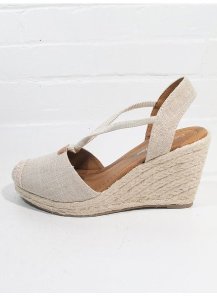 Wedge Sand linen espadrille wedge