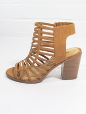 Wedge Tan caged stacked heel