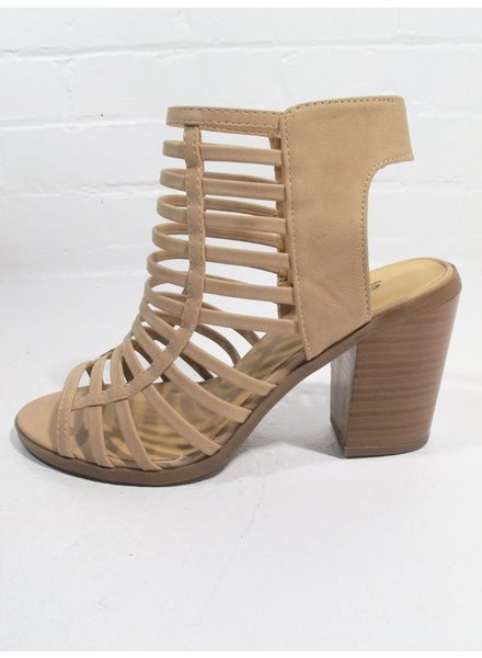 Wedge Natural caged stacked heel