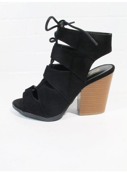 Wedge Stacked heel laced wedge