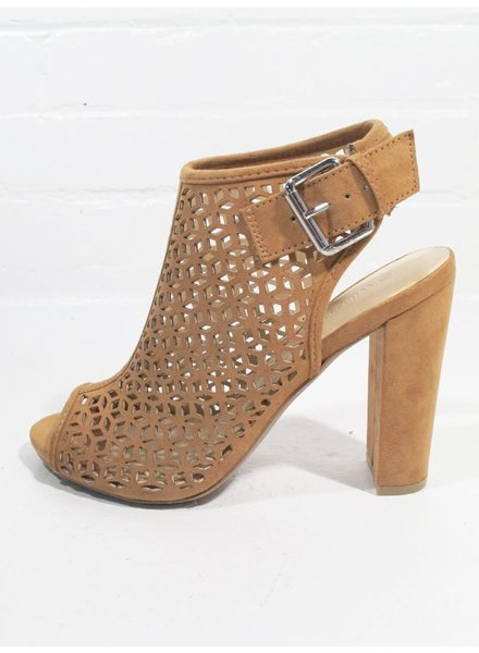 Wedge Chestut suede laser cut bootie