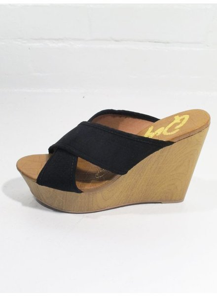 Wedge Black cross strap wedge