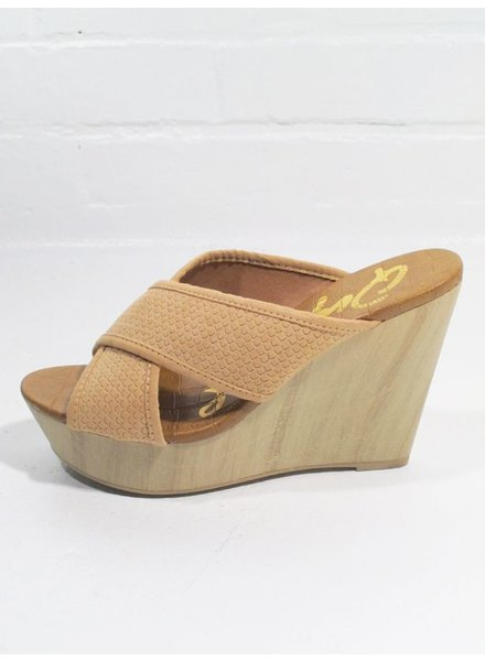 Wedge Nude cross strap wedge