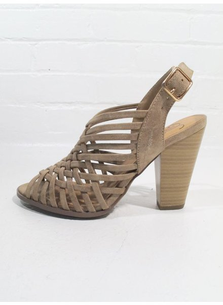 Wedge Taupe woven top sandal