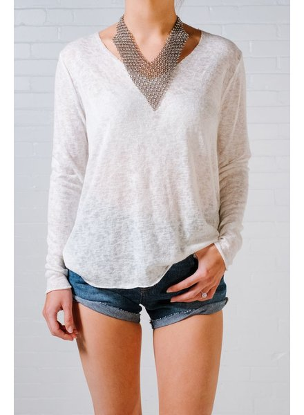 Sweater Ivory burnout lightweight knit *BACK IN STOCK!