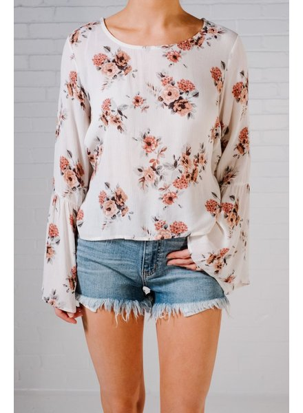 Blouse Floral bell sleeve tie blouse *BACK IN STOCK!